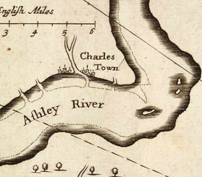 The second Charles Towne as depicted on a 1671 map of Carolina. Image from NC Maps.