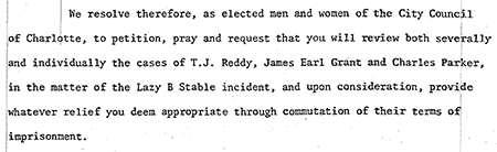 Part of a 1978 Resolution by the Charlotte City Council calling for clemency for the Charlotte Three. Image from the City of Charlotte and Mecklenburg County Government.