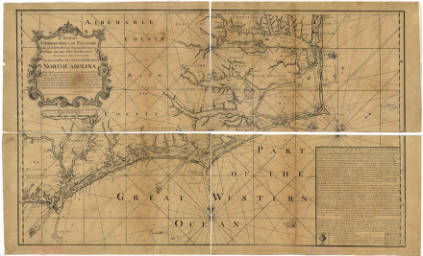 James Wimble's Chart of his Majesties Province of North Carolina. Courtesy of North Carolina State Archives.