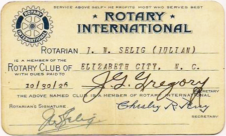 Rotary International membership card, 1926. Image from the North Carolina Museum of History.