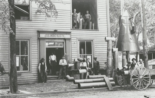 J. E. Mickey shop on South Main Street, with the coffee pot in front, 1899. Courtesy of the Forsyth County Public Library Photograph Collection.