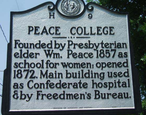 Peace College mile marker is located in Wake County. Photo is courtsey from North Carolina HIghway Historical Marker Program.