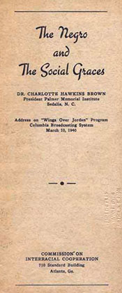 Pamphlet of a radio address by Charlotte Hawkins Brown sponsored by the CIC, 1940. Image from the North Carolina Historic Sites.