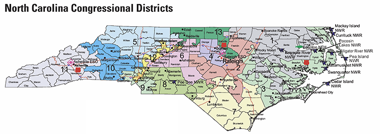 Congressional Districts NCpedia - North carolina political map