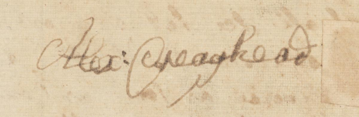 Signature of Alexander Craighead, from his Last Will and Testament, from the collections of the State Archives of North Carolina.