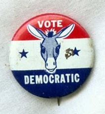 Democratic Party political campaign button, 1960-1970.