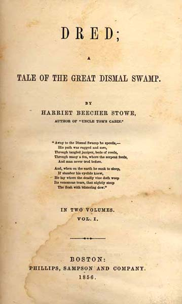 Title page of Dred, A Tale of the Great Dismal Swamp. Image from Documenting the American South at the University of North Carolina at Chapel Hill.
