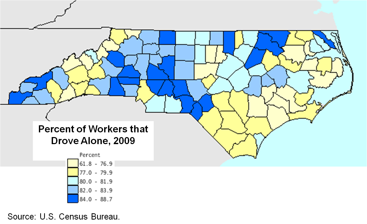 Drove to work alone by county, 2009