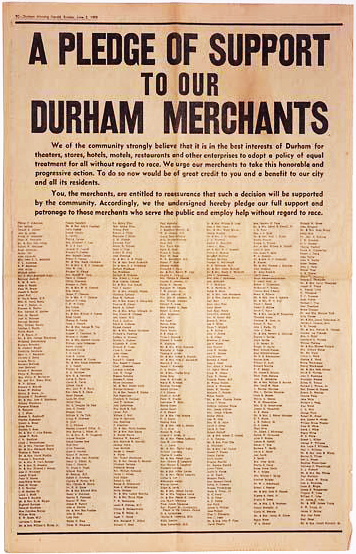 Durham Herald-Sun advertisment supporting equal rights and treatment, June 2, 1963. Image from the North Carolina Museum of History.