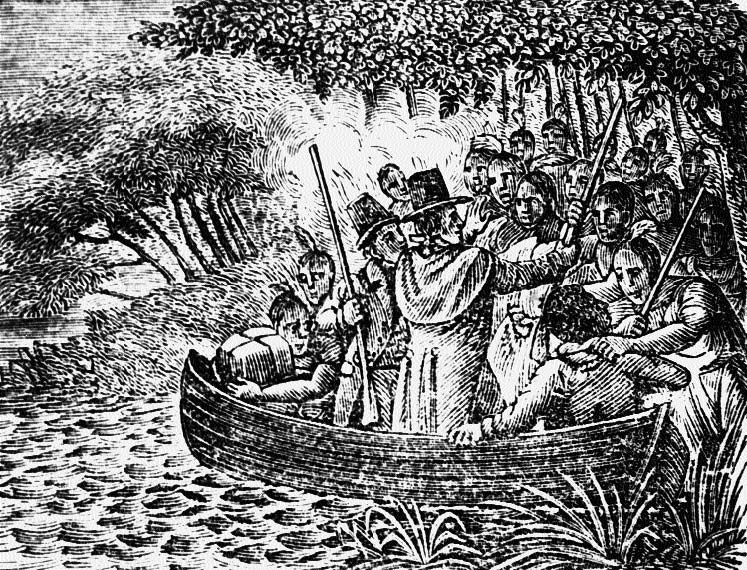 Sketch of Lawson's capture by Tuscaroroa Indians