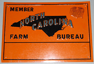 Metal membership sign for the American Farm Bureau Federation, circa 1940-1960. Image from the North Carolina Historic Sites.