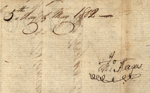 Singature of Dr. John Fergus from his Last Will, dated May 5, 1802, shortly before his death the same month.  Image courtesy of the North Carolina State Archives.