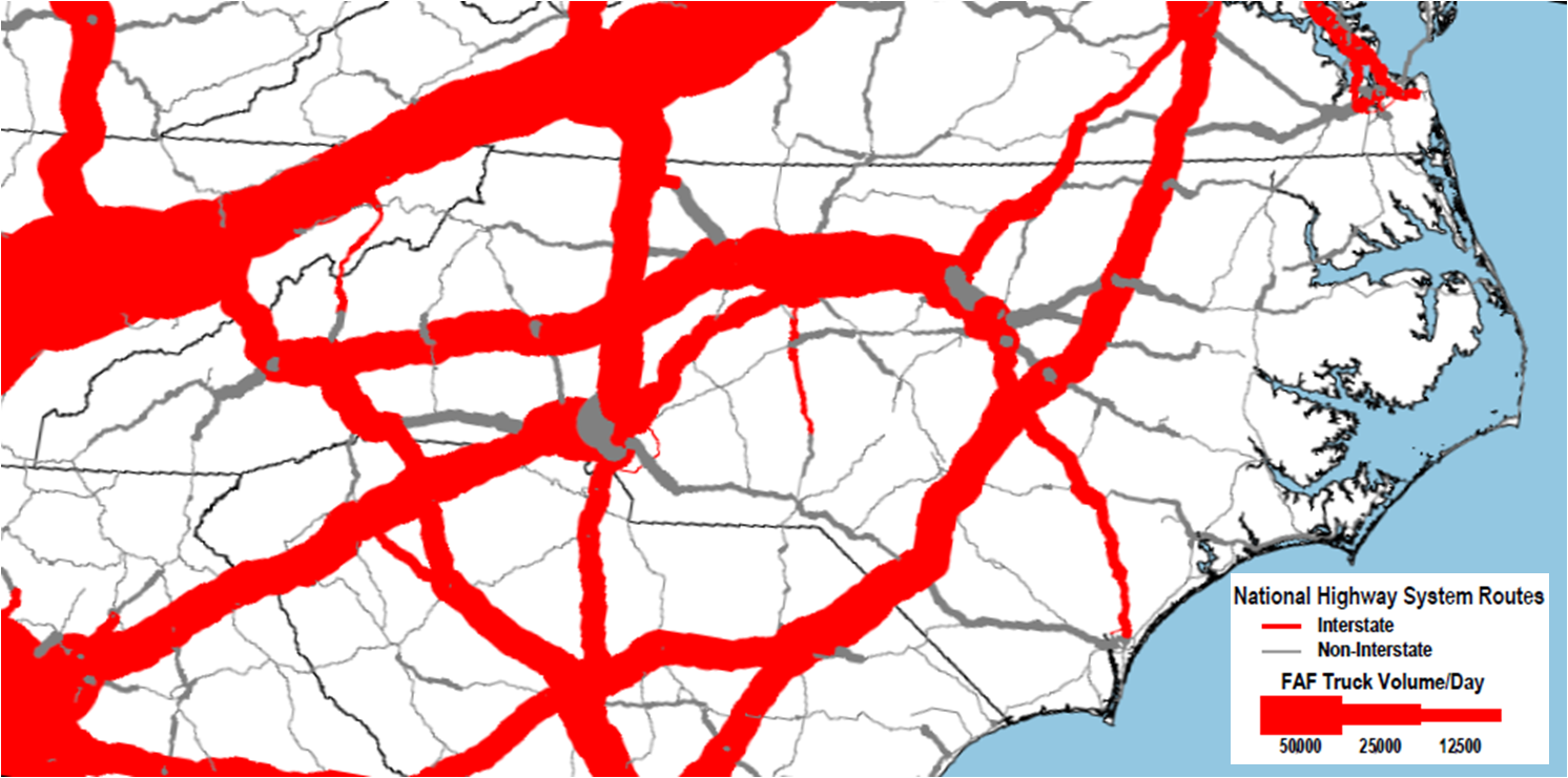 Freight flows on NC highways, 2007
