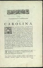The Fundamental Constitutions of Carolina, by John Locke, 1669. Image from Wikimedia Commons.