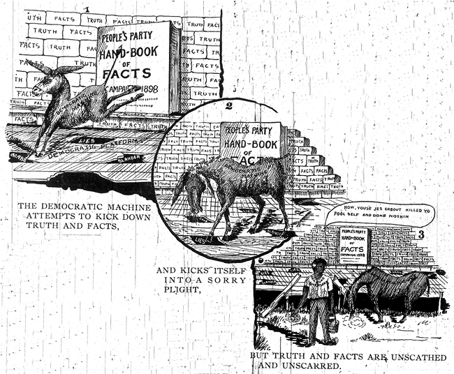 People's Party Handbook of Facts. Cartoon. Supplement to The Progressive Farmer (Raleigh, N.C.), 25 October 1898.