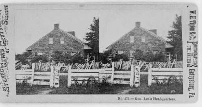 """Gen. Lee's headquarters."" Created by Gettysburg, Pa. : W.H. Tipton & Co., photographers and publishers, [between 1863 and 1890]. Image courtesy of Library of Congress."