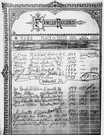 Family record sheet, likely from a family bible, from the collections of the North Carolina State Archives and State Library of North Carolina.