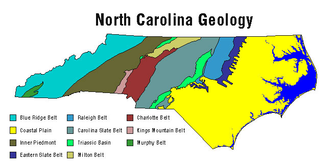 The different parts of North Carolina's geology. Image from the N.C. Department of Environment and Natural Resources.