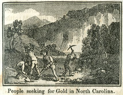 """People seeking for Gold in North Carolina."" Image available online courtesy of UNC Libraries.  In Samuel Griswold Goodrich, The First Book of History for Children and Youth. Boston: Carter, Hendee, and Co., 1833, p. 75."
