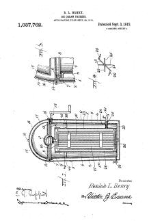 Beulah Henry's patent for the ice cream freezer.