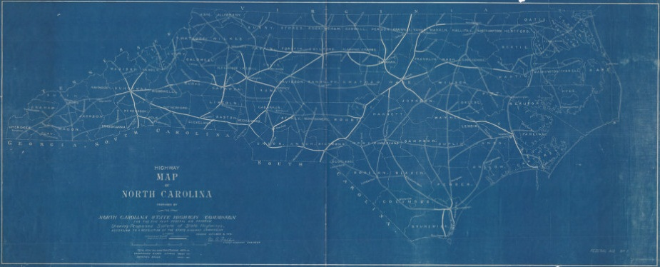 Highway map of North Carolina prepared by the North Carolina State Highway Commission for the five year federal aid program, 1916.