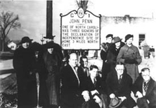 The first marker erected under the program, dedicated alongside U.S. 15 in Stovall, Granville County, in 1936. Image from the North Carolina Highway Historical Program.