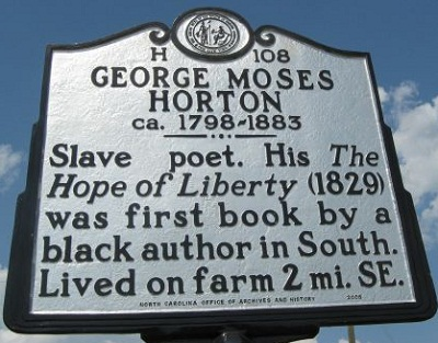 North Carolina Highway Historical Marker for George Moses Horton