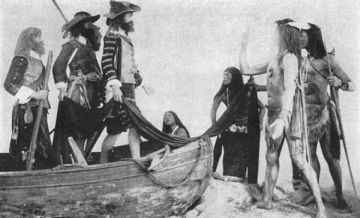 """Photo of a group in the U. S. National Museum, Washington, D. C.  Captain John Smith and companions trading with the Indians in Virginia, 1607. The colonists seek corn and furs from the natives in exchange for beads, trinkets, utensils and cloth."" Image courtesy of Project Gutenberg."