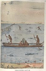 """Indians Fishing"", watercolor by John White, created 1585-86. Depicts a coastal Algonquian Tribe. Image courtesy of the Trustees of the London Museum."