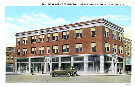 649 Home Office Imperial Life Insurance Company, Asheville, NC published by the Asheville Post Card Co., Asheville, NC. From the Georgia Historical Society Postcard Collection, c. 1905-1960s, PhC.45, North Carolina State Archives, call #:  PhC45_1_Ash145.