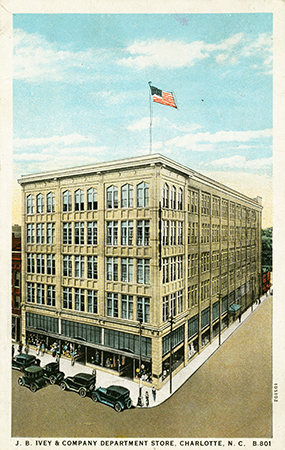 Postcard of the Ivey's Store in Charlotte, N.C. Image from the North Carolina Collection Postcards Collection.
