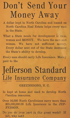 Advertisement for the Jefferson Standard Life Insurance Company in the 1917 Turner's North Carolina Almanac.