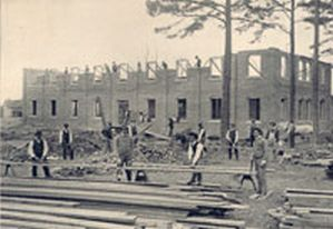 Biddle Memorial Hall is being built, 1883.