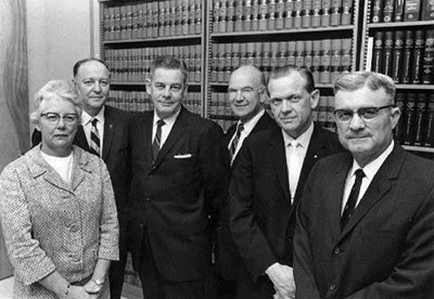 The first six judges appointed to the Court of Appeals in 1967. From right to left, Naomi E. Morris, James C. Farthing, Walter E. Brock, Hugh B. Campbell, David M. Britt, and Raymond B. Mallard.