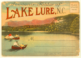 Front of souvenir postcard packet Lake Lure, N.C. From Miscellaneous Postcard Collection, PhC.120, North Carolina State Archives, call #:  PhC_120_3_39.