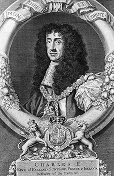 Engraving of King Charles II of England, 1736. Image from the North Carolina Historic Sites.