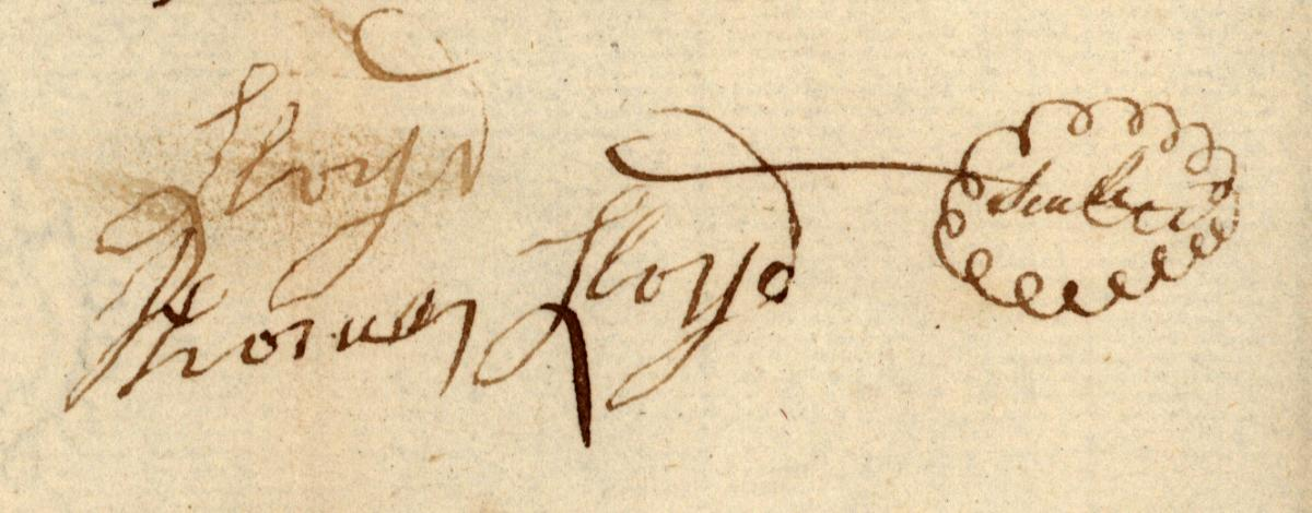 Signature of Thomas Lloyd from his Last Will and Testament, February 1792.  Courtesy of the North Carolina State Archives.