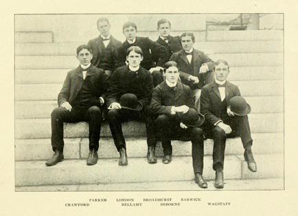 Photograph of the editors of the <i>Tar Heel</i> from the 1899 UNC-Chapel Hill yearbook <i>The Hellenian</i>.  Presented on DigitalNC.