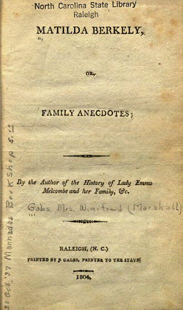 Title page of Matilda Berkley, or, Family Anecdotes, 1804.