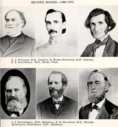 Some of the members of the second North Carolina Medical Board, 1866 to 1872.