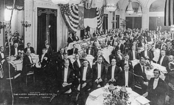 Members of the North Carolina Society of New York gathered for a dinner at the Hotel Astor, 3 Dec. 1909. North Carolina Collection, University of North Carolina at Chapel Hill Library.
