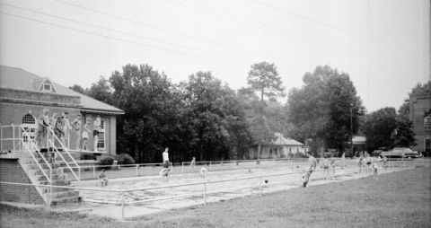 Pool outside the dining hall at the Methodist Orphanage, Raleigh. Image courtesy of the State Archives of North Carolina, call number: N_53_16_4207.