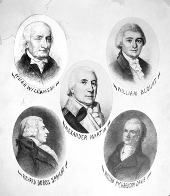 Image of Hugh Williamson, William Blount, Alexander Martin, Richard Dobbs Spaight and Wm Richardson Davie