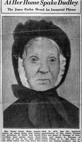 Newspaper article about Nancy Jones with her portrait. Image courtesy of the State Archives of North Carolina.