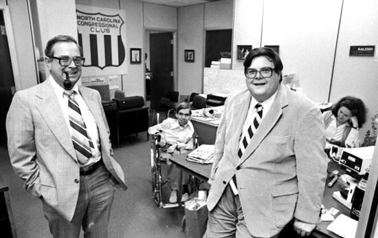 Tom Ellis (left) and Carter Wren (right) at the National Congressional Club office, November 12, 1979. Copyright News & Observer, all rights reserved. Used with permission. Housed at the N.C. State Archives, call no. NO_18426Fr25.