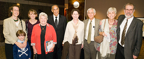 Some former trustees of the North Carolina Humanities Council (from L to R): JoAnna Ruth Marsland (with son), Julie Curd, Sue Ross, John Haley, Lynn Ennis, Willis Whichard, Lucinda MacKethan. Image from the North Carolina Humanities Council.