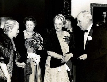 Photograph taken at the opening of the North Carolina Museum of Art showing (left to right) Lady Marcia Cunliff Owen, Mrs. Robert Lee Humber, Mrs. Luther Hodges, and North Carolina Governor Luther Hodges.
