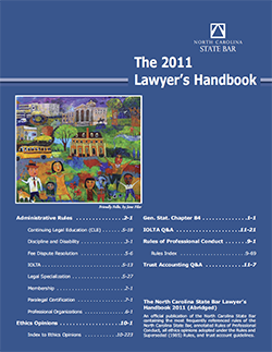 Cover of the North Carolina State Bar's 2011 handbook. Image from the North Carolina Historic Sites.