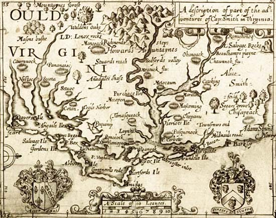 Map of 'Ould Virginia' from The Generall Historie of Virginia by John Smith, 1624. Image from Documenting the American South.