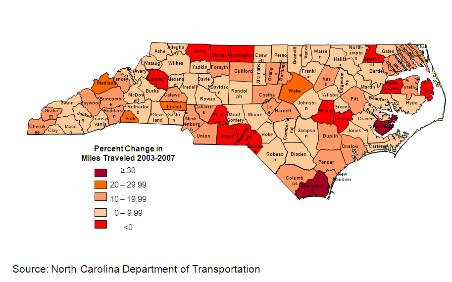 Vehicle Miles Traveled, Percentage change per county, 2003-2007